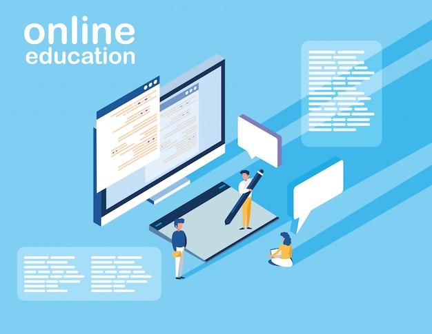 Educação on-line com computadores e mini-pessoas Vetor Premium