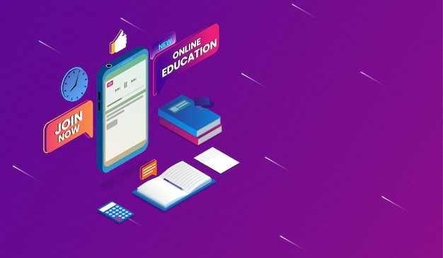 Educação on-line com conceito de smartphone Vetor Premium