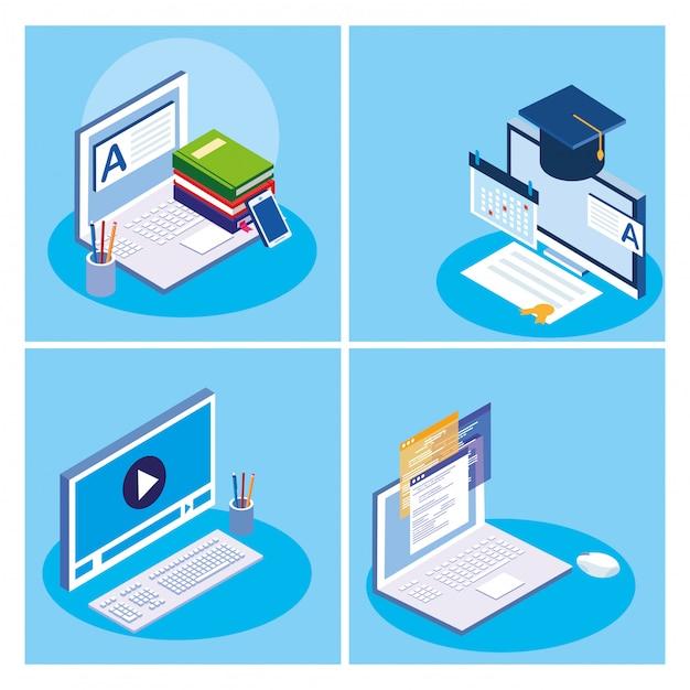 Educação on-line conjunto de ícones Vetor Premium