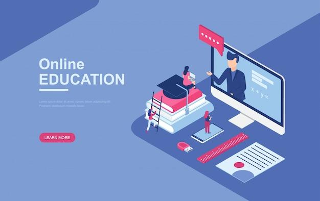 Educação on-line, cursos de treinamento on-line isométricos Vetor Premium