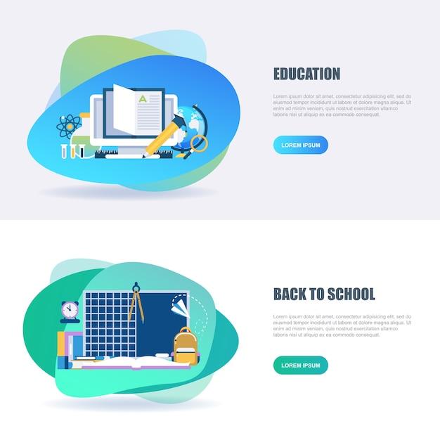 Educação on-line de conceito plana e shool Vetor Premium