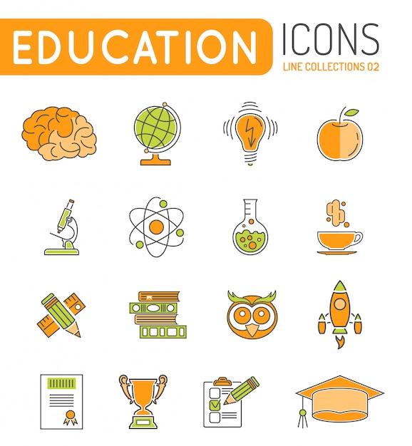 Educação on-line de linhas finas cor web icon set Vetor Premium