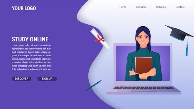 Educação on-line e estudar do conceito de computador para a página de destino, com diploma e chapéu de formatura e livro de exploração de mulher. Vetor Premium