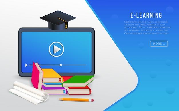 Educação on-line, e-learning, pesquisa universitária, cursos de treinamento com tablet, livros, livros didáticos e graduação. Vetor Premium