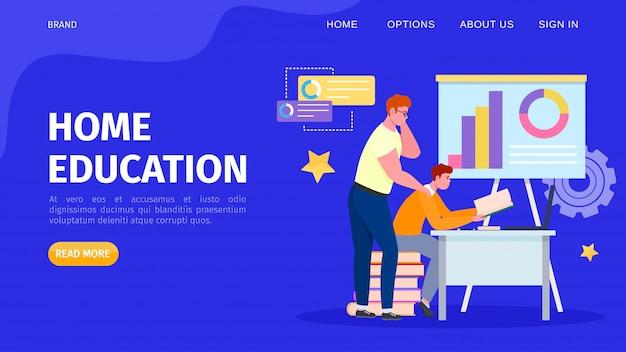 Educação on-line em casa, ilustração. caráter de estudante de pessoas aprendendo na internet pela tecnologia a distância. estude Vetor Premium