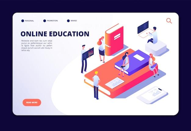 Educação on-line isométrica. treinamento na internet, estudando em sala de aula on-line. cursos, conceito de vetor de tecnologia de educação Vetor Premium