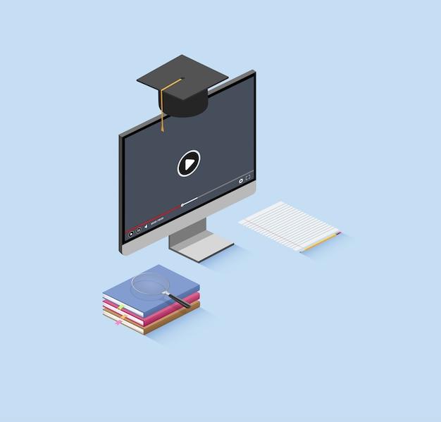 Educação on-line isométrica. Vetor Premium