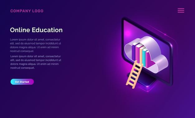 Educação on-line ou conceito isométrico de biblioteca Vetor grátis