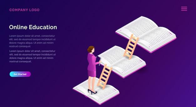 Educação on-line ou conceito isométrico de treinamento Vetor grátis