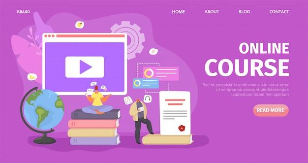 Educação on-line, tecnologia de curso do estudante, ilustração. conhecimentos em internet de computadores, estudo a distância na web pessoas Vetor Premium