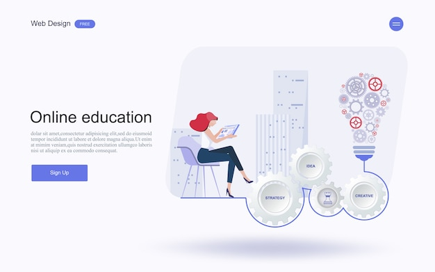 Educação on-line, treinamento e cursos, aprendendo. Vetor Premium