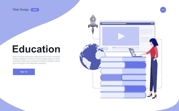Educação on-line, treinamento e cursos, aprendizado. Vetor Premium