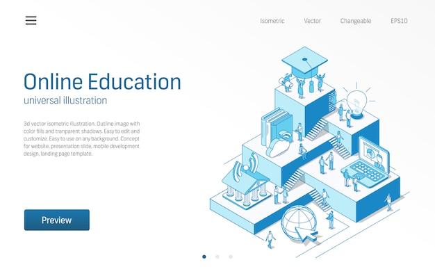 Educação online. aprendendo o trabalho em equipe dos alunos. ilustração de linha isométrica de aprendizagem. universidade digital, estudo a distância, ícone da biblioteca virtual. fundo 3d conceito de infográfico de passo de crescimento. Vetor Premium