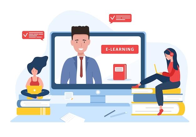 Educação online. conceito de design plano de treinamento e tutoriais em vídeo. aluno aprendendo em casa. ilustração para banner site, material de marketing, modelo de apresentação, publicidade on-line. Vetor Premium