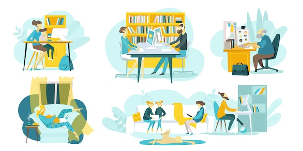 Educação online, cursos de formação, conjunto de tecnologias web de ilustração com tutoriais e professores a distância, alunos aprendendo online. escolas de internet para crianças e educação a distância. Vetor Premium