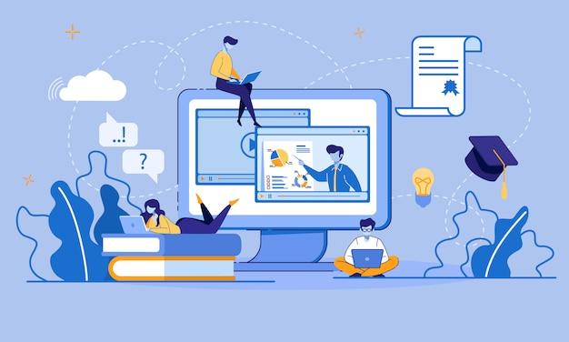 Educação online e e-learning via dispositivo digital Vetor Premium