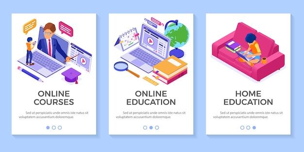 Educação online em casa ou exame a distância com caráter isométrico Vetor Premium