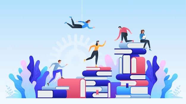 Educação online. ensino a distância, cursos on-line, educação, livros e livros on-line Vetor Premium