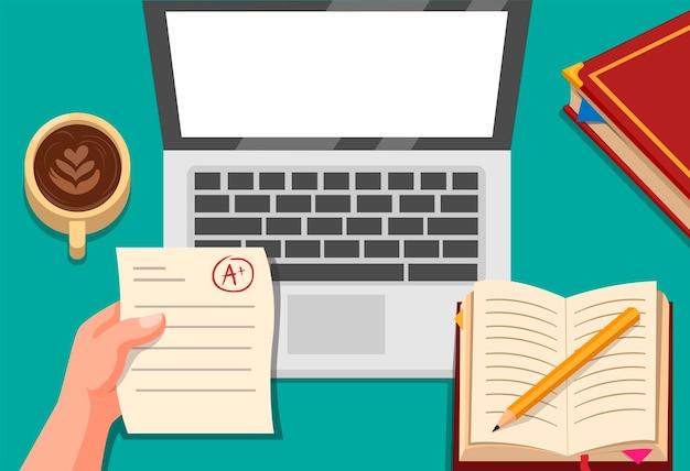 Educação online, mão segurando o exame de papel com laptop, café e conceito de livro na ilustração dos desenhos animados Vetor Premium