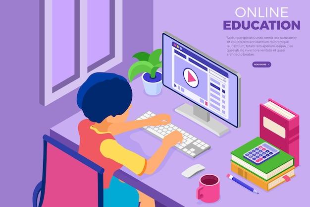 Educação online ou exame a distância com caráter isométrico. curso de internet e e-learning em casa. Vetor Premium