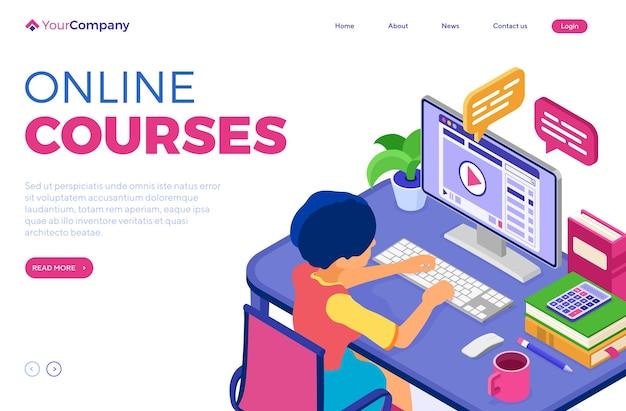 Educação online ou exame a distância com caráter isométrico Vetor Premium