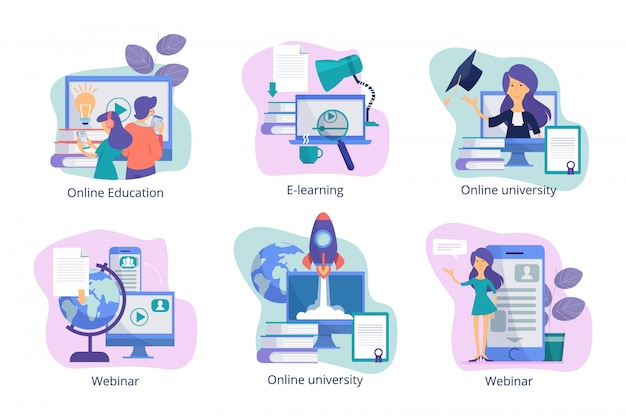 Educação online. web estudam treinamentos à distância, seminários on-line e cursos para alunos de imagens conceituais de professores Vetor Premium