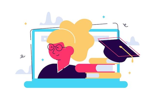 Educação online. webinar. tela do laptop, uma pilha de livros e um boné de formatura. personagem feminina Vetor Premium
