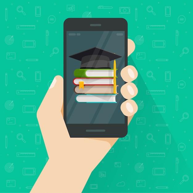 Educação ou conhecimento via celular ou livros no celular Vetor Premium