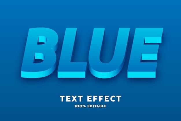 Efeito 3d realista de texto azul fresco Vetor Premium