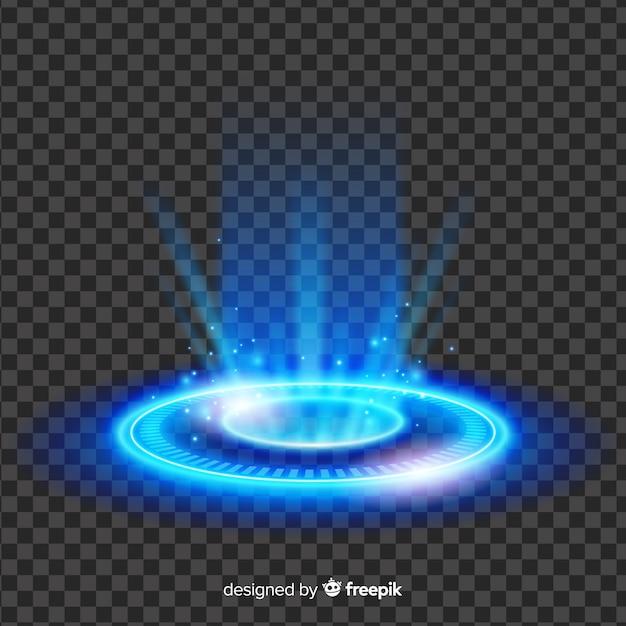 Efeito abstrato portal de luz azul Vetor grátis