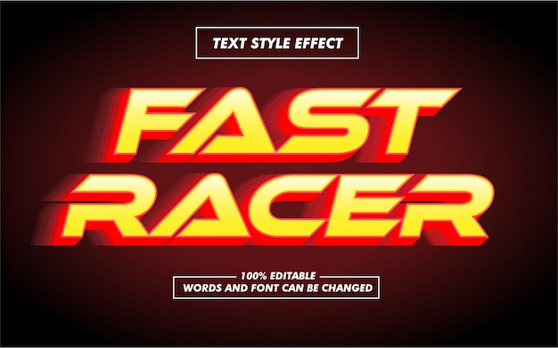 Efeito corrida e estilo de texto em negrito rápido Vetor Premium