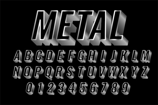 Efeito de estilo 3d de texto brilhante de aço ou prata Vetor grátis