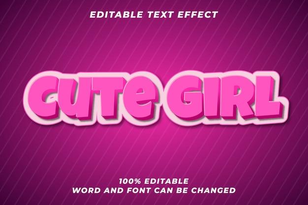 Efeito de estilo de texto editável linda garota Vetor Premium
