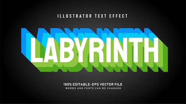 Efeito de estilo de texto em camadas de labirinto Vetor grátis