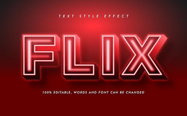 Efeito de estilo de texto em negrito vermelho para título de filme e pôster Vetor Premium