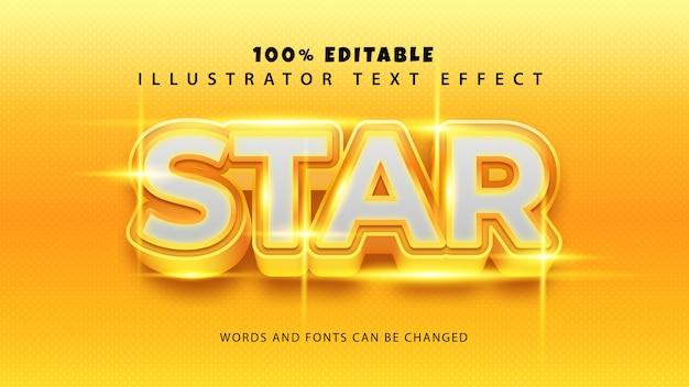 Efeito de estilo de texto estrela, texto editável Vetor Premium