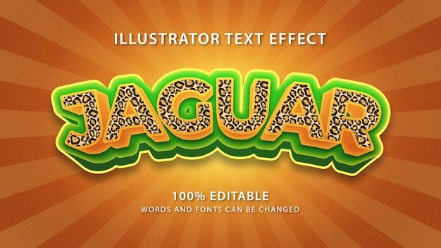 Efeito de estilo de texto jaguar, texto editável Vetor Premium