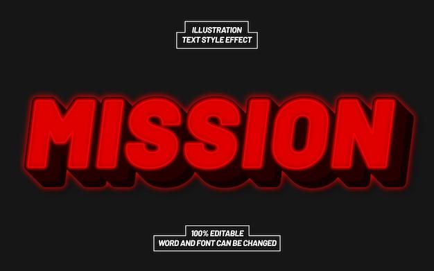 Efeito de estilo de texto mission red bold Vetor Premium