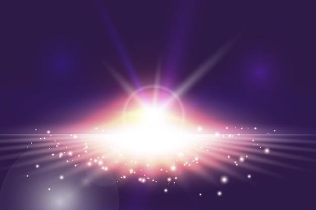 Efeito de explosão de luz abstrata com faíscas Vetor Premium