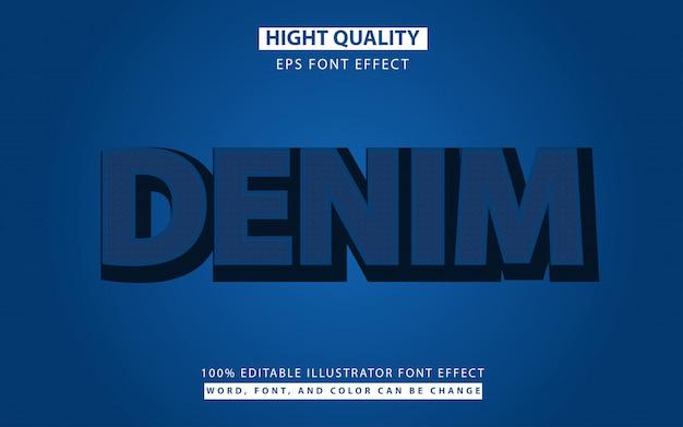 Efeito de fonte de estilo de texto de textura de jeans Vetor Premium