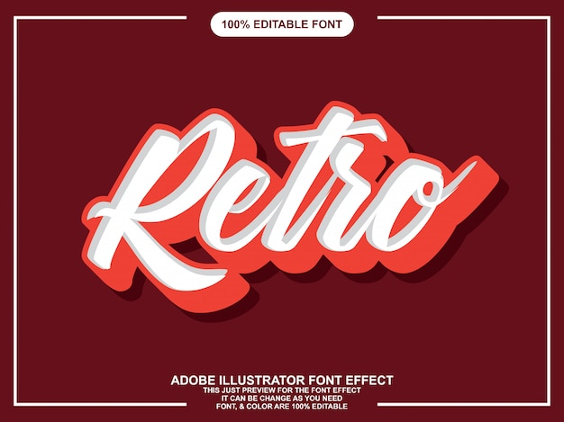 Efeito de fonte de etiqueta simples script retrô Vetor Premium