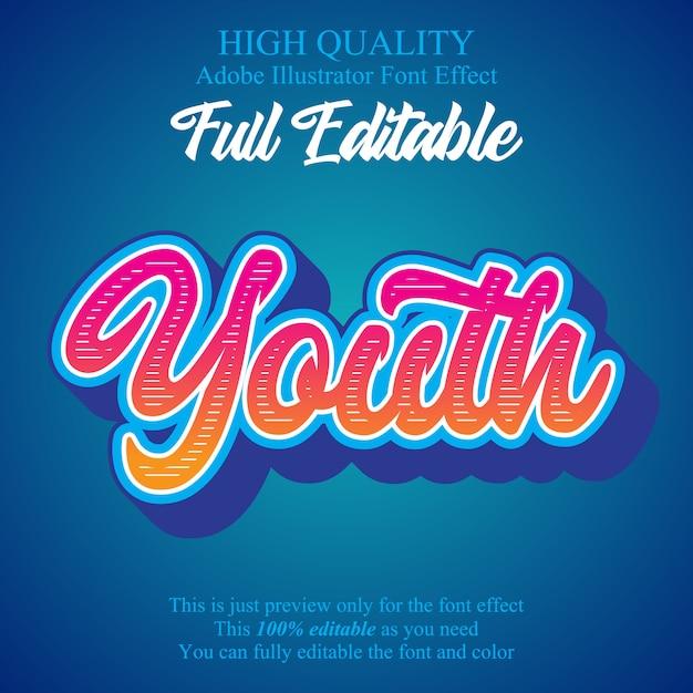 Efeito de fonte de tipografia editável de script de juventude moderna Vetor Premium