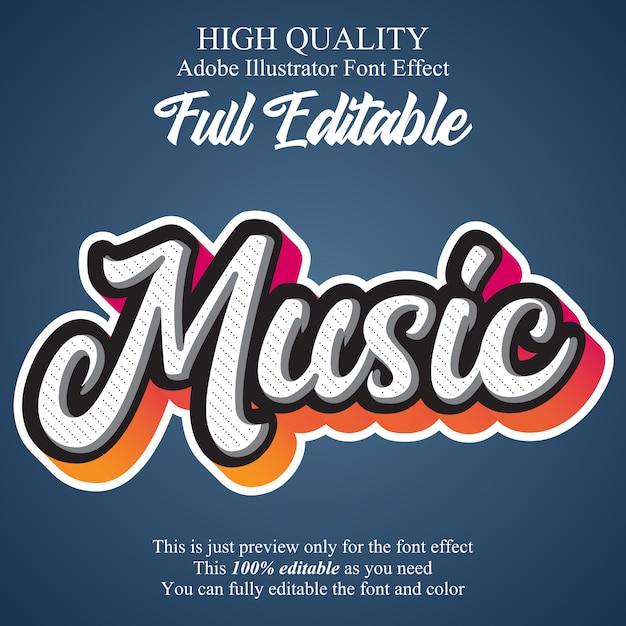 Efeito de fonte de tipografia editável de script de música moderna Vetor Premium