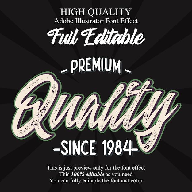 Efeito de fonte de tipografia editável de script de qualidade premium vintage Vetor Premium
