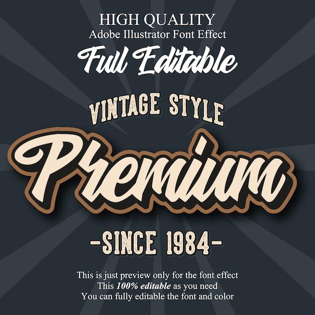 Efeito de fonte de tipografia editável de script premium retrô Vetor Premium