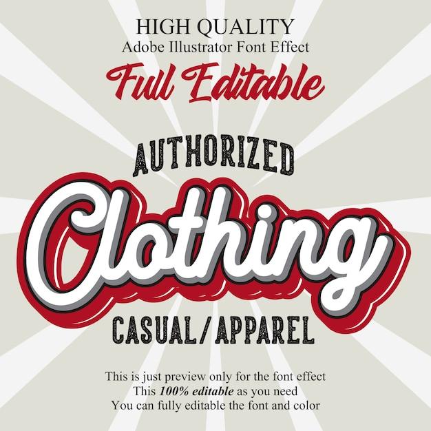 Efeito de fonte de tipografia editável de texto de roupas retrô Vetor Premium