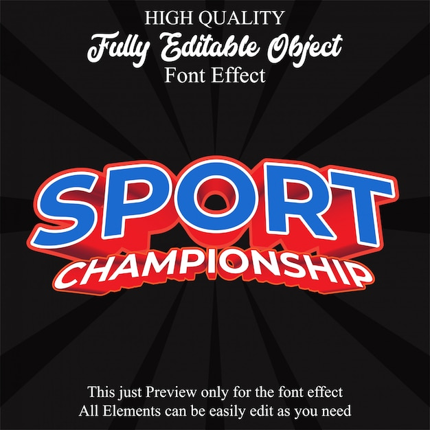 Efeito de fonte editável de estilo de texto moderno esporte Vetor Premium