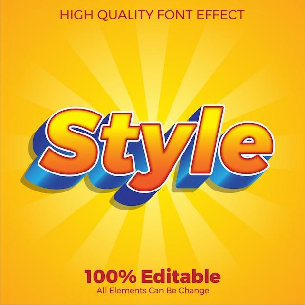 Efeito de fonte editável do estilo de texto 3d colorido moderno Vetor Premium
