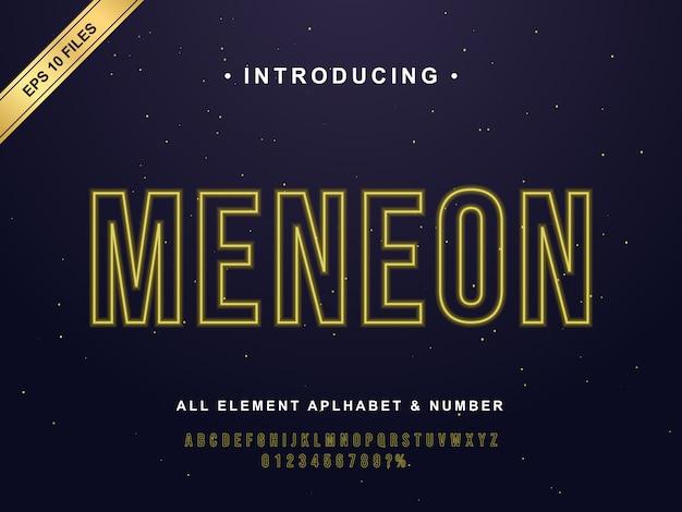 Efeito de fonte moderna linha neon amarelo. estilo de néon elegante para café, loja, cafeteria, restaurante. letras e números com efeito neon amarelo Vetor Premium
