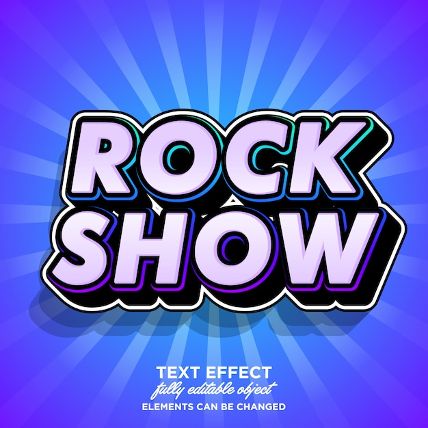 Efeito de fonte moderna para banner de show de música Vetor Premium